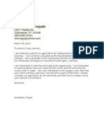 Cover Letter # 2