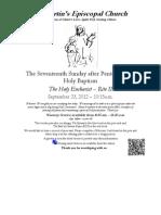 St. Martin's Episcopal Church Worship Bulletin - Sept. 23, 2012 - 10:15 a.m.