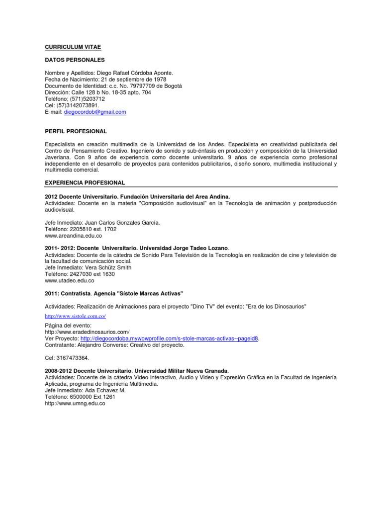 Curriculum Diego Cordoba 2012