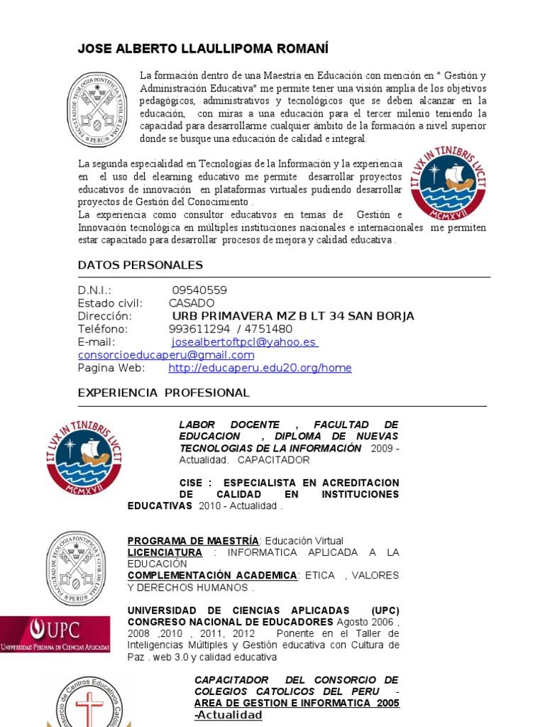 Jose Alberto Llaullipoma - Curriculum