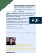 Métodos e Técnicas de Investigação em Ciências Sociais