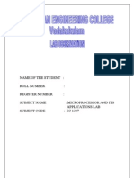 Microprocessor Lab Manual Anna