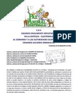 S.O.S de los Equinos de La Antigua Guatemala y Propuesta PAGT para implementación de TRENCITOS Ecológicos. 1 Sept., 2011.