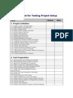 Testing Project Setup Checklist