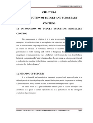 BUDGET AND BUDGETARY CONTROL IN KESORAM CEMENT INDUSTRIES LTD