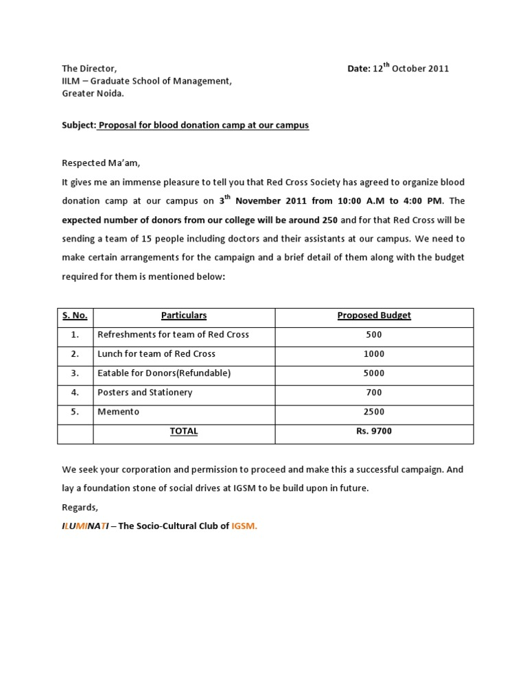 Approval letter for blood donation camp 2011 stopboris Choice Image