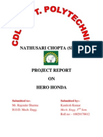 Hero Honda EngineProject Report