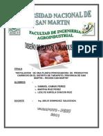 """""""INSTALACION   DE UNA PLANTA PROCESADORA  DE  PRODUCTOS CARNICOS EN EL DISTRITO DE TARAPOTO, PROVINCIA DE SAN MARTIN – REGION SAN MARTIN"""""""