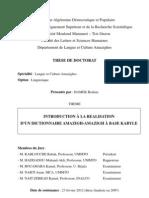 Introduction à la réalisation d'un dictionnaire amazigh-amazigh à base kabyle - thèse doctorat de Hamek Brahim