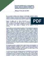 Manifiesto en contra de la violencia institucional que se ejerce sobre las trabajadoras sexuales de la calle