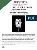 A Diamond Fit For a Queen ~ Christie's Geneva, November 13