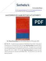 Masterpiece by Mark Rothko and Stunning Portrait By Pablo Picasso to be Offered by Sotheby's New York in November