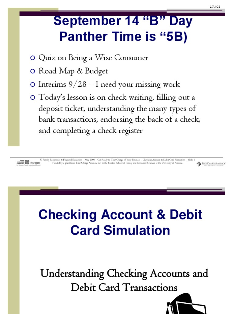 How To Write Checking Account And Debit Card Simulation Transaction Account  Cheque
