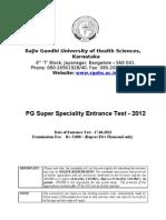 Rguhs PGSSET 2012 Brochure