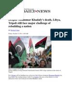 Despite Moammar Khadafy's death, Libya, Tripoli still face major challenge of rebuilding a nation - Cohen