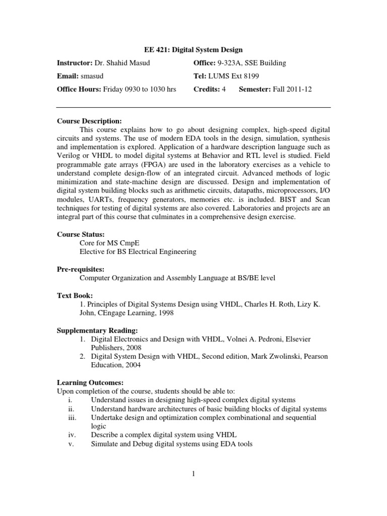 Ee 421 Digital System Design Dr Shahid Masood 1 Vhdl Digital Electronics