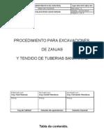 Procedimiento Para Excavaciones Zanjas y Tendido de Tuberia Para La Red de Desague Completo