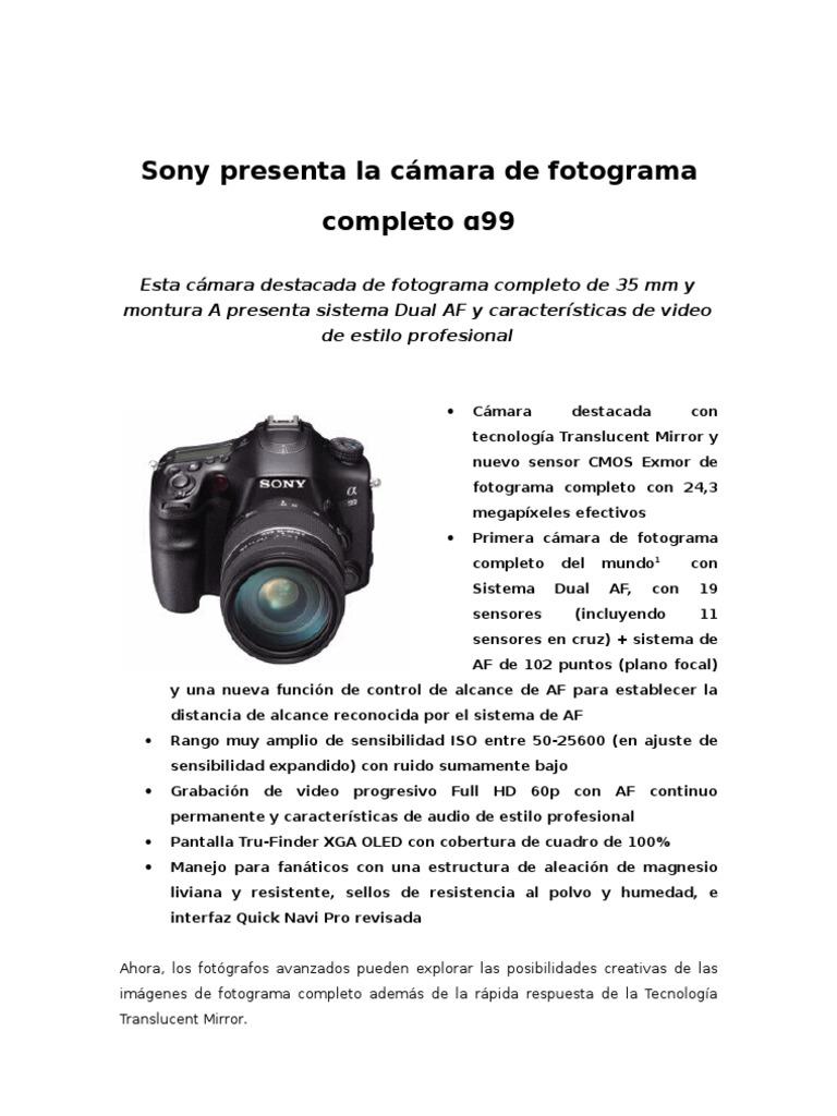 Sony presenta la cámara de fotograma completo α99