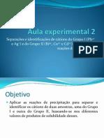 Separações e identificações de cátions do Grupo I e do Grupo II, baseadas em reações de precipitação
