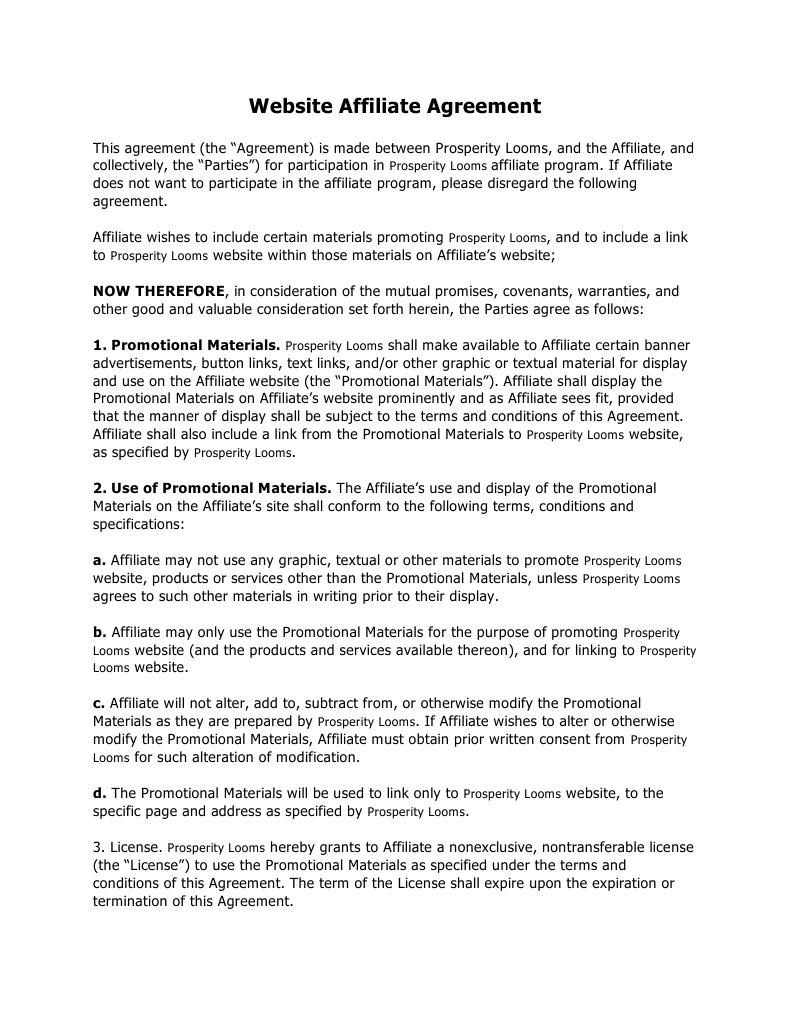 Loom Affiliate Agreement Indemnity License