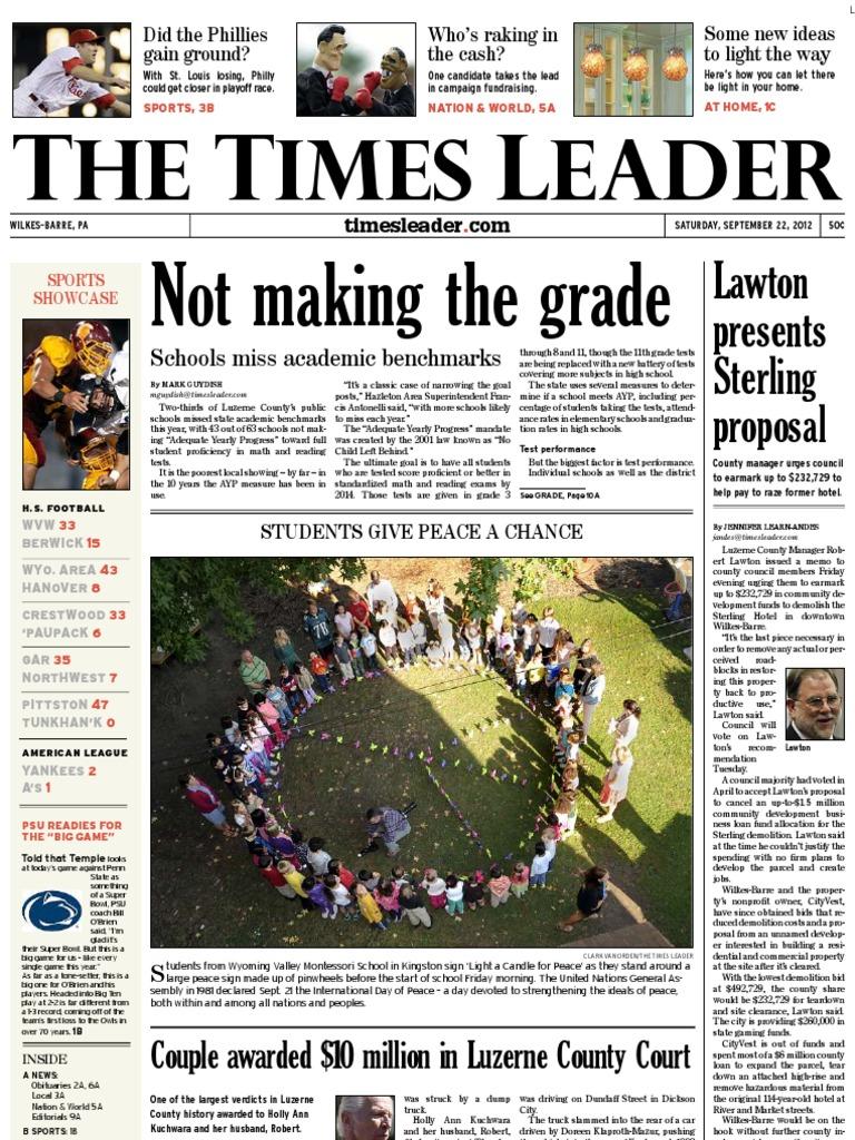 Times Leader 09 22 2012 United States Government Mitt Romney Energen Oatmilk Mixbry10scx24g