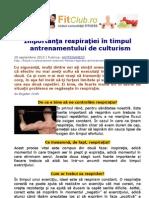 Importanţa respiraţiei în timpul antrenamentului de culturism | FitClub.ro