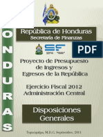 Disposiciones Presupuesto General de La Republica de Honduras 2012