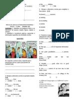 Prova Inglês - 1º medio basico