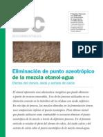 Eliminación del punto azeotropico de una mezcla etanol agua