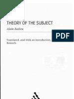 Alan Badiou - Theory of the Subject