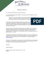 Advisory Notice - Object 10 - March 12, 2009