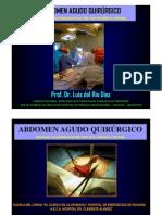 ABDOMEN AGUDO QUIRÚRGICO ALGUNAS REFLEXIONES QUE NOS AYUDEN A PENSAR. Prof. Dr. Luis del Rio Diez