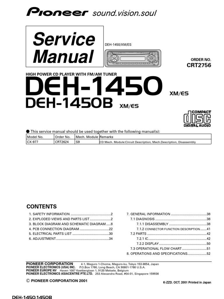 Manual de servicio PIONEER DEH-1450 C2756 | Power Supply | Digital
