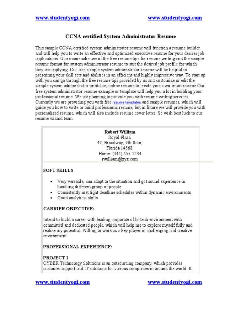CCNA Certified System Administrator Resume | Network Switch | Cisco ...
