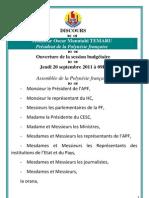 Président Oscar Temaru - Ouverture session budgétaire - 20 septemebre 2012