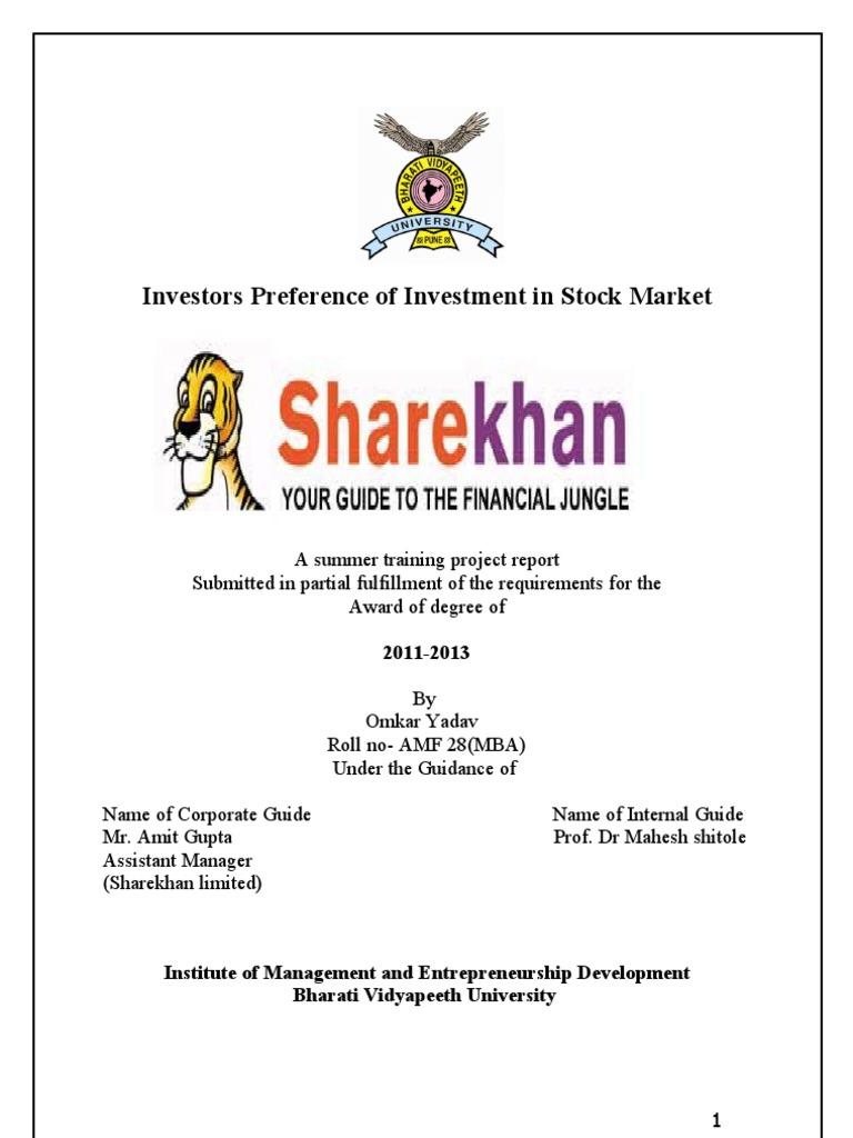 share khan summer project omkar yadav | investing online | stocks