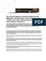 MATT STARR Kiss Army Argentina Interview English