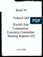 World's Fair Corporation - Executive Committee Meeting Reports - 01-22-1964