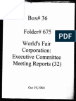 World's Fair Corporation - Executive Committee Meeting Reports - 10-19-1964