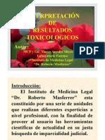 INTERPRETACIÓN de los resultados toxicologicos