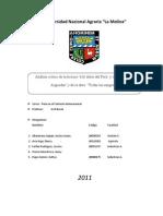 Análisis de la lectura 100 años del Perú y de José María Arguedas y