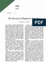The Necessity of Dogmas in Schooling