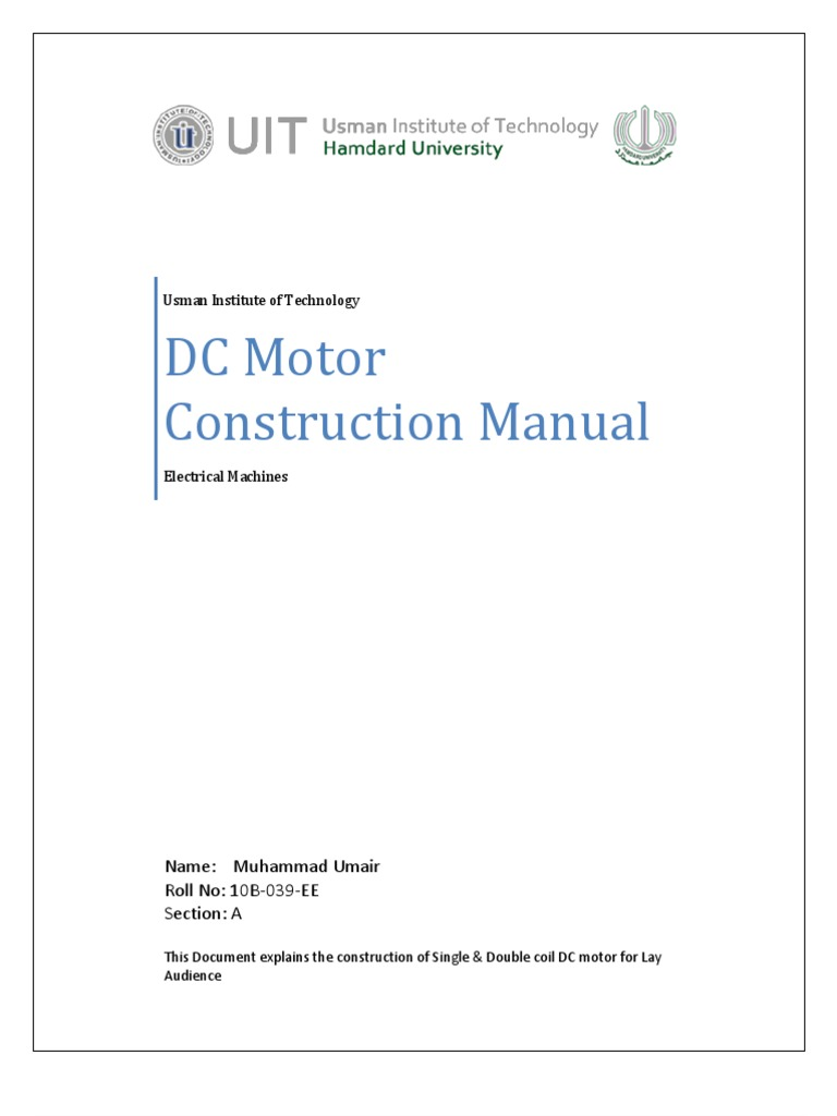 DC Motor Construction Manual | Electric Motor | Inductor