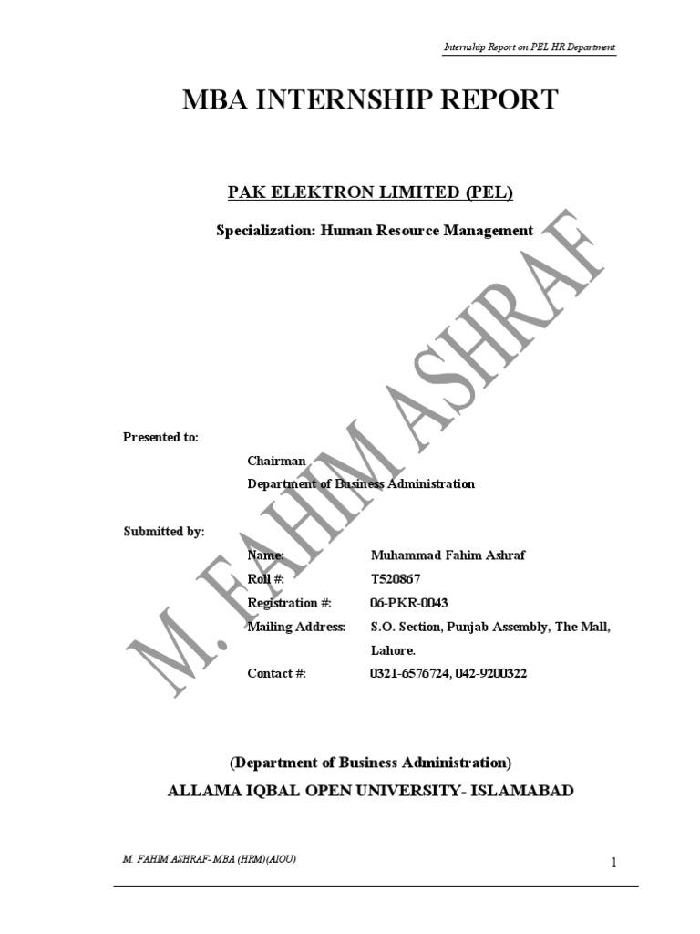 Mba Internship Report: Pak Elektron Limited (Pel)