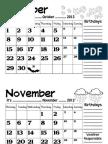 CALENDAR 2012-2013 (October, November, December)