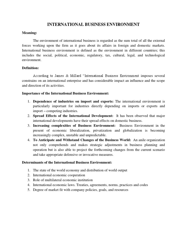 impact of economic environment on international business