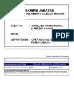 Uraian Jabatan Manager Operasional Perencanaan