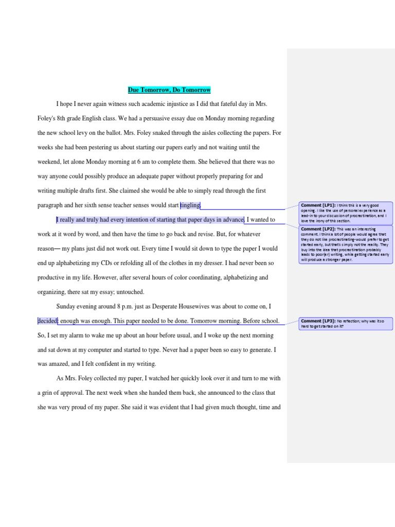 Procrastination essay conclusion 19th century essayist