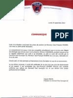 Communiqué de Claude Michy concernant Jean-François Rivière