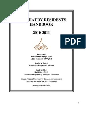 Psychiatry Handbook   Residency (Medicine)   Psychiatry